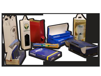 Kasírozott dobozok:<br />Előnyomott papírral, -ami felületvédő lakkal vagy fóliával is ellátható-, egy- vagy kétoldalt bevont dobozok.