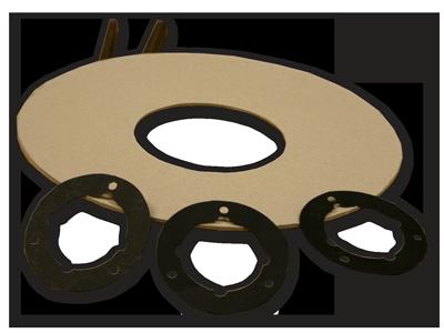 Tárcsák, korongok. Különböző átmérőjű kör alakú tömítő, lezáró és határoló lapok.